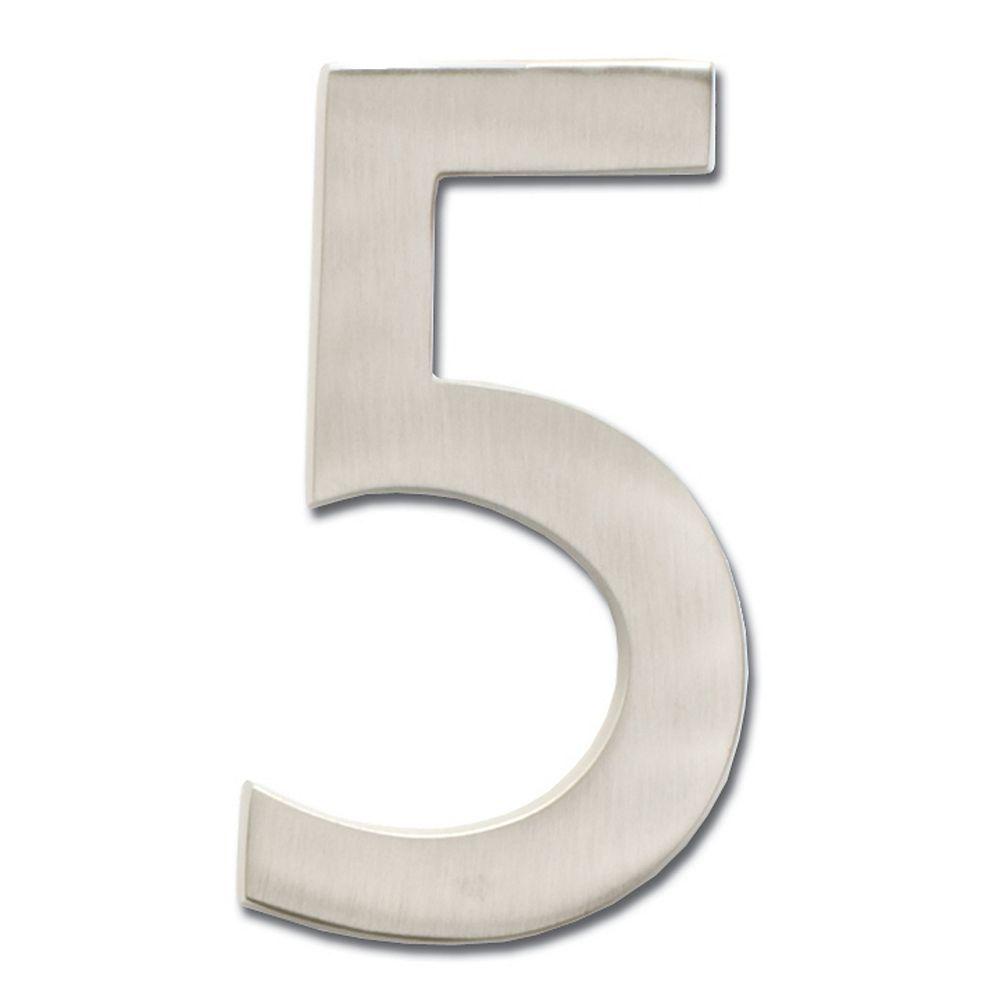 Architectural Mailboxes Chiffre de numéro de maison flottant, 4 pouces, en laiton fondu massif à fini nickel satin, «5»