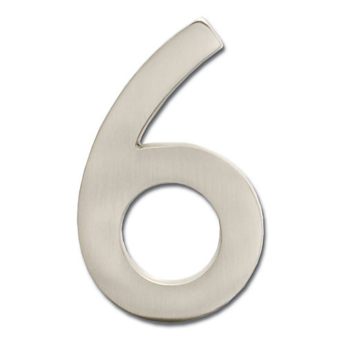 "Solid Cast Brass 4 inch Floating House Number Satin Nickel ""6"""