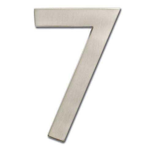 "Solid Cast Brass 4 inch Floating House Number Satin Nickel ""7"""