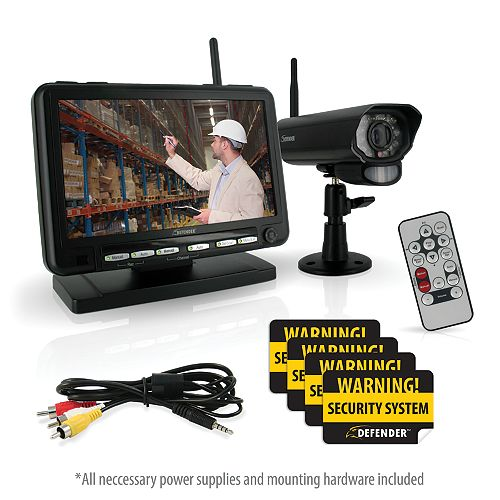Defender Digital Wireless DVR Security System, 7 LCD Monitor, and Long Range Night Vision Cameras