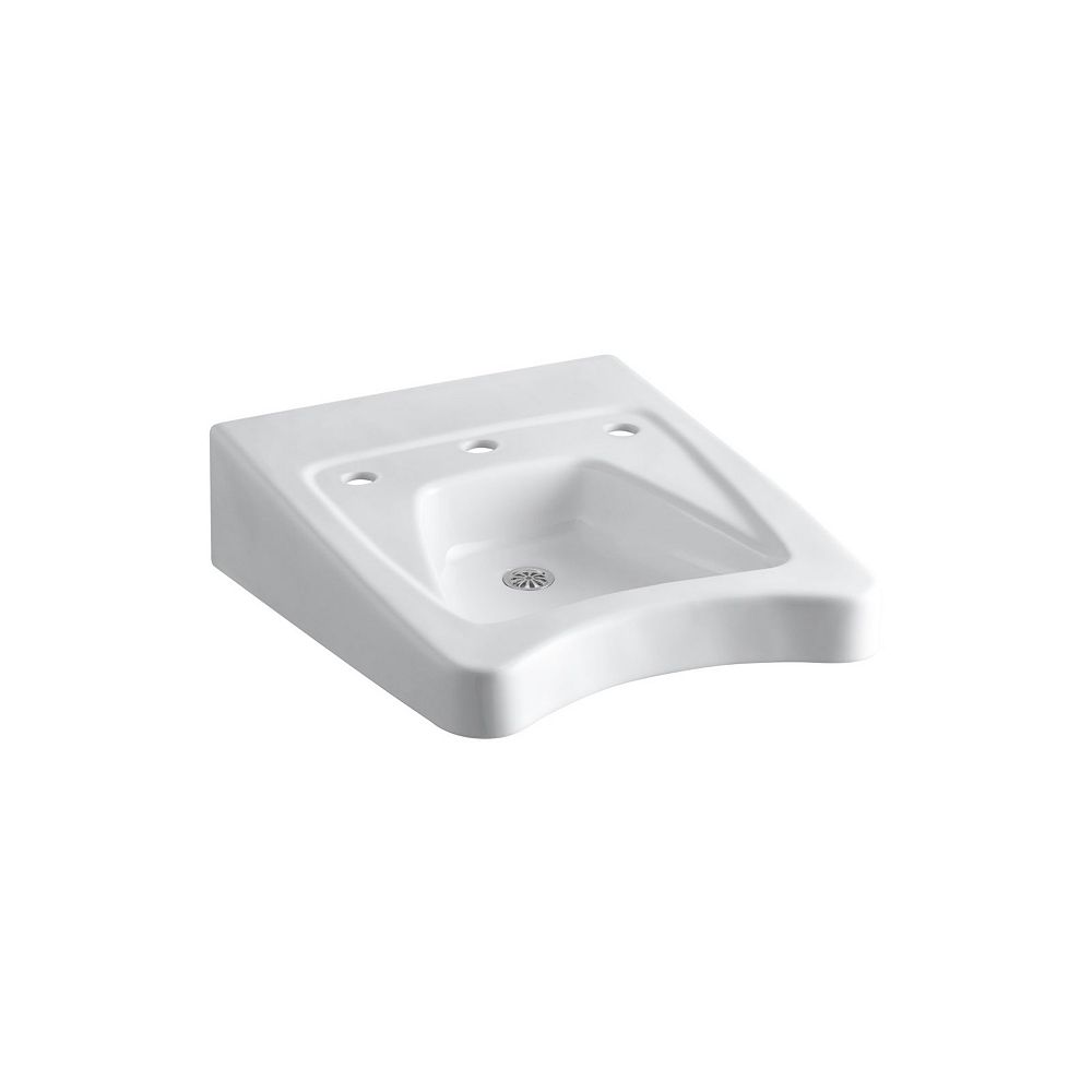 KOHLER Morningside(TM) 20 inch x 27 inch mounted/concealed arm carrier wheelchair bathroom sink with 11-1/2 inch centers faucet holes
