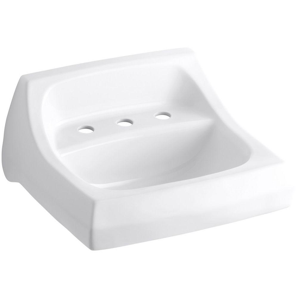 KOHLER Lavabo de salle de bain Kingston au mur/bras-support dissimule, 21 1/4 po x 18 1/8 po, avec trous pour robinet deploye