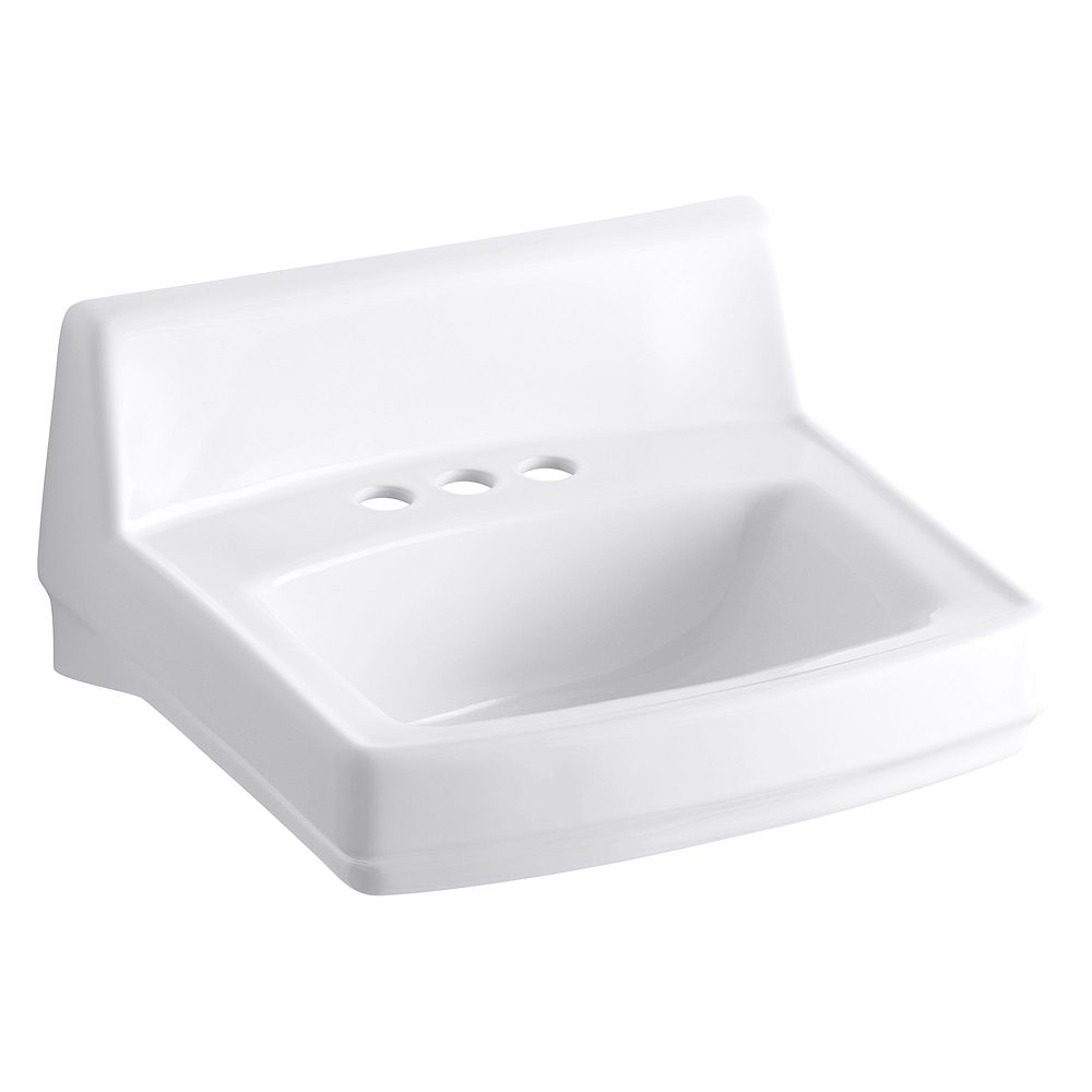 KOHLER Greenwich(TM) 20-3/4 inch x 18-1/4 inch wall-mount/concealed arm carrier bathroom sink with 4 inch centerset faucet holes