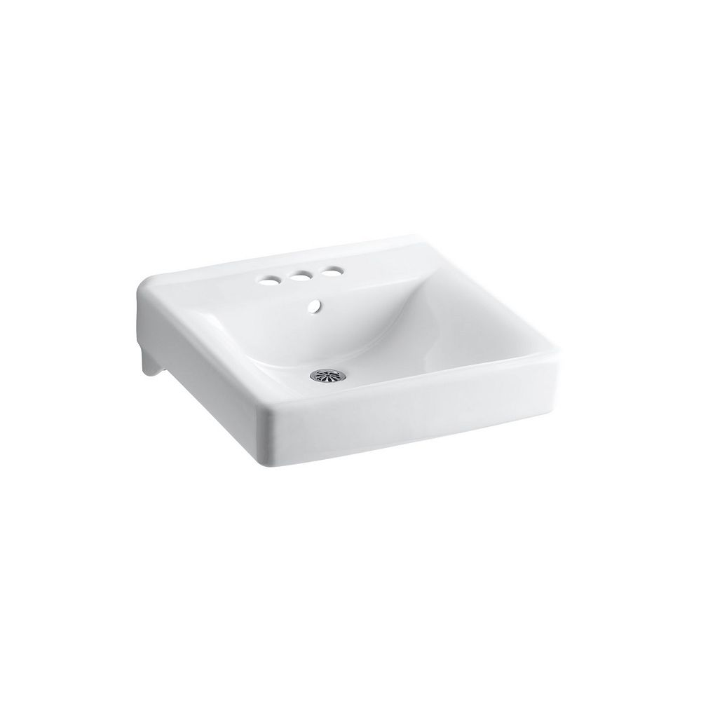 KOHLER Soho(R) 20 inch x 18 inch wall-mount/concealed arm carrier arm bathroom sink with 4 inch centerset faucet holes
