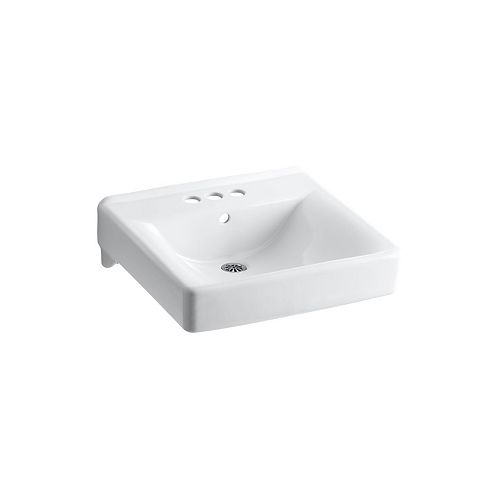 Soho(R) 20 inch x 18 inch wall-mount/concealed arm carrier arm bathroom sink with 4 inch centerset faucet holes