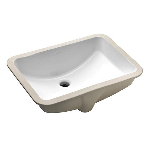 Ladena 20-7/8-inch Undermount Bathroom Sink in White with Overflow Drain