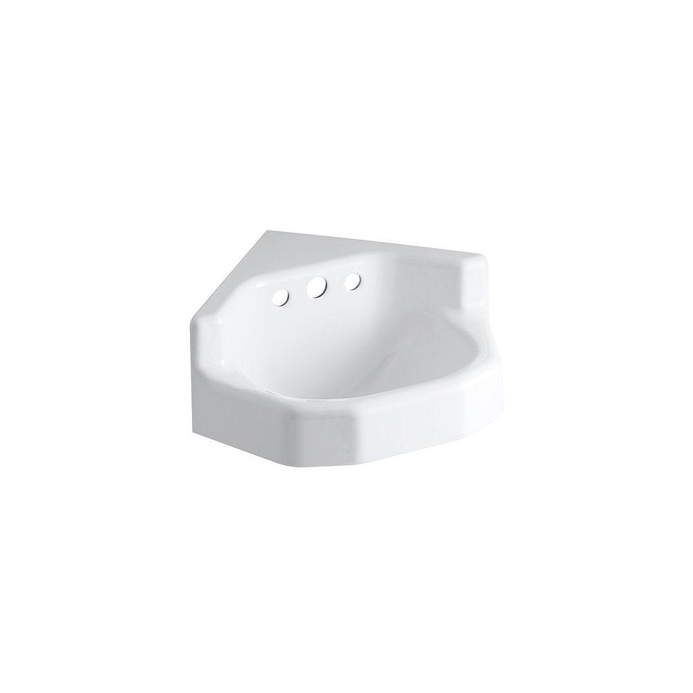 KOHLER Marston(TM) 16 inch x 16 inch corner wall-mount/shelf-back bathroom sink