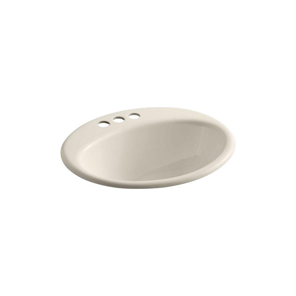 KOHLER Farmington(R) drop-in bathroom sink with 4 inch centerset faucet holes