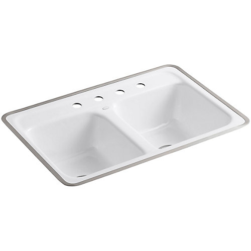 Evier de cuisine a double cuve egale Delafield pour surface carrelee/cadre metallique, 32 x 21 x 8 1/2 po, avec 4 trous de robinet