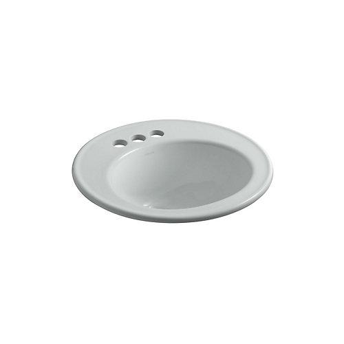 Brookline(R) 19 inch diameter drop-in bathroom sink with 4 inch centerset faucet holes