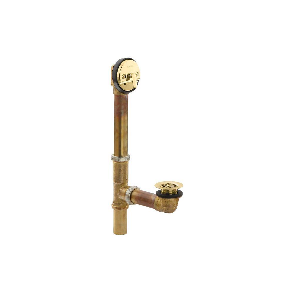 KOHLER Swiftflo(Tm) 1-1/2 Inch Adjustable Trip Lever Drain, 17-Gauge Brass, For 14 Inch To 16 Inch Baths in Vibrant Polished Brass