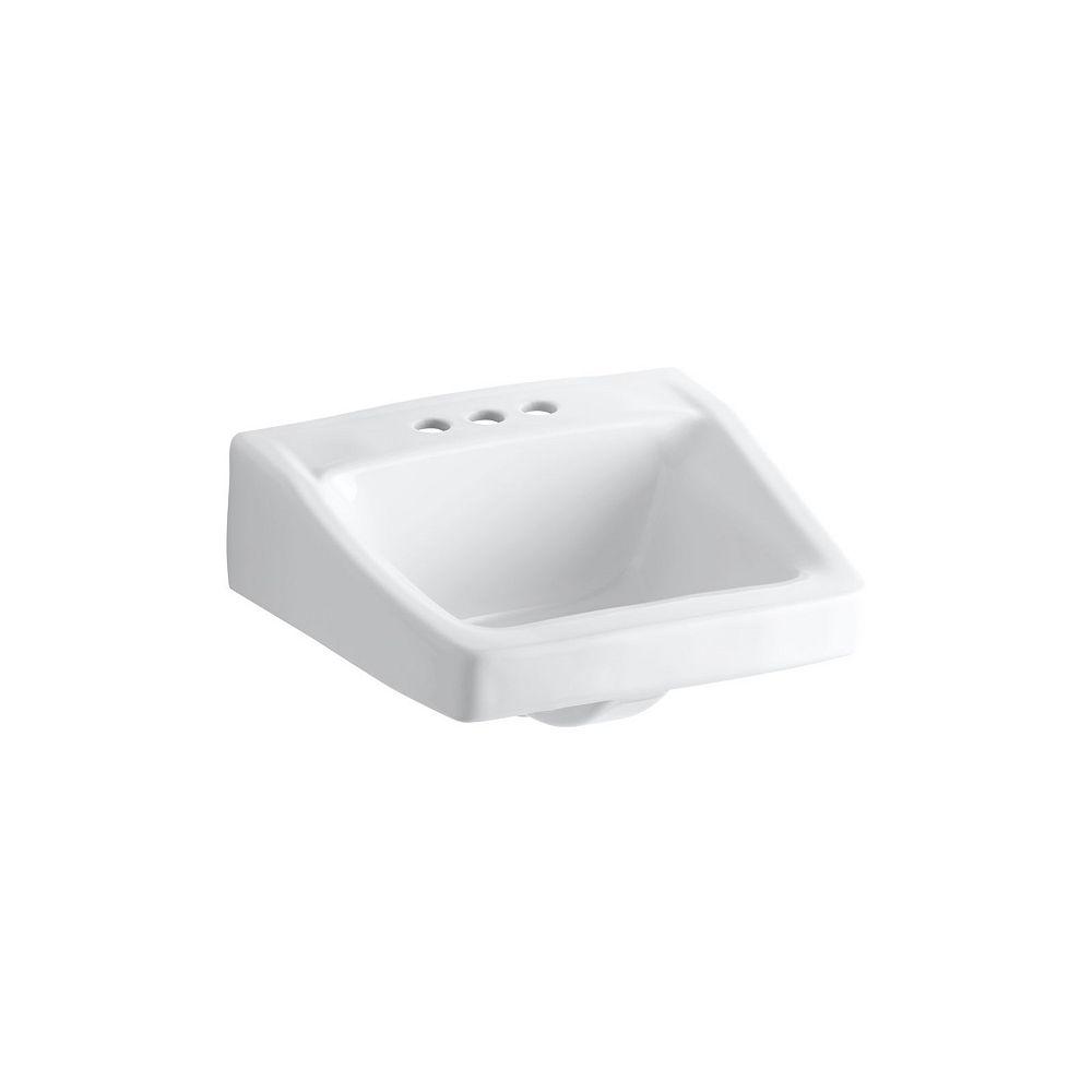 KOHLER Lavabo de salle de bain Chesapeake au mur/bras-support dissimule, 19 1/4 x 17 1/4 po, avec trous pour robinet traditionnel de 4 po
