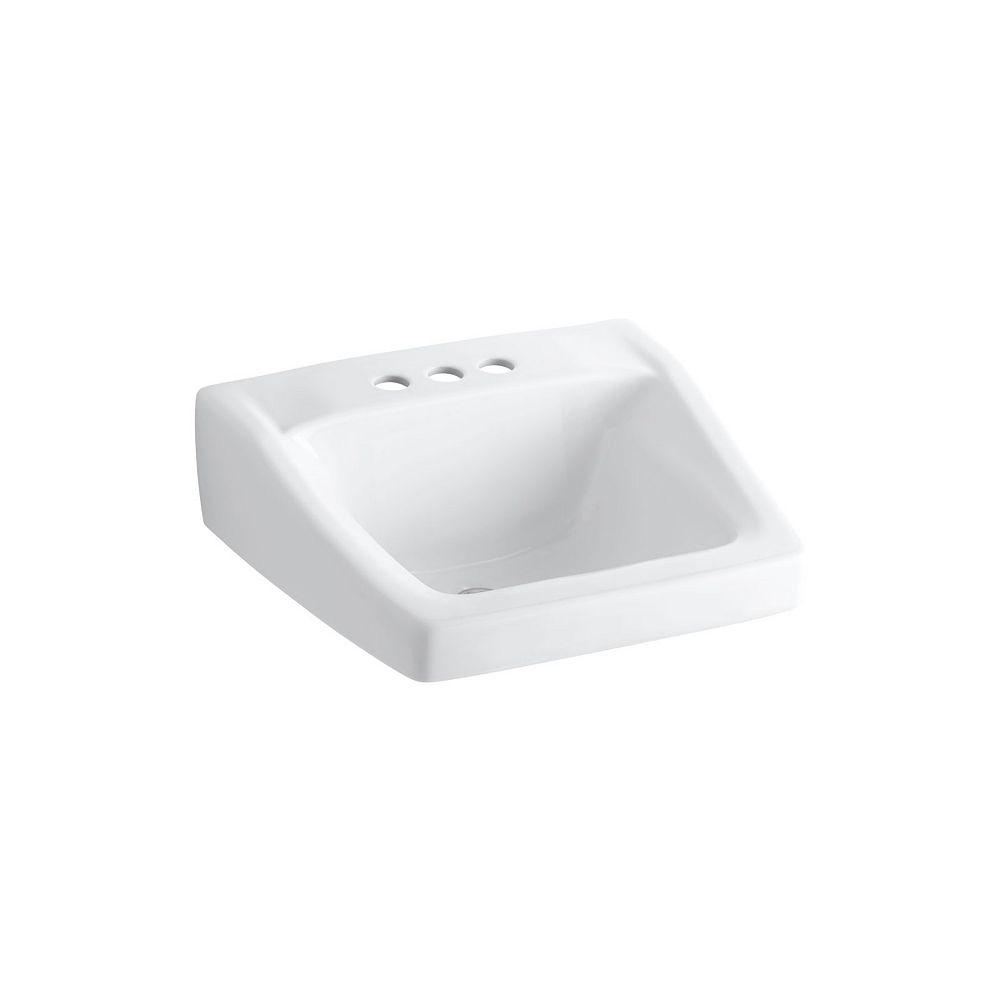 KOHLER Lavabo de salle de bain Chesapeake au mur/bras-support dissimule, 20 x 18 1/4 po, avec trous pour robinet traditionnel de 4 po