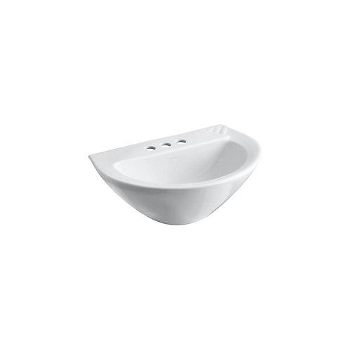 Cuvette de lavabo de salle de bain sur colonne Parigi avec trous pour robinet traditionnel de 4 po
