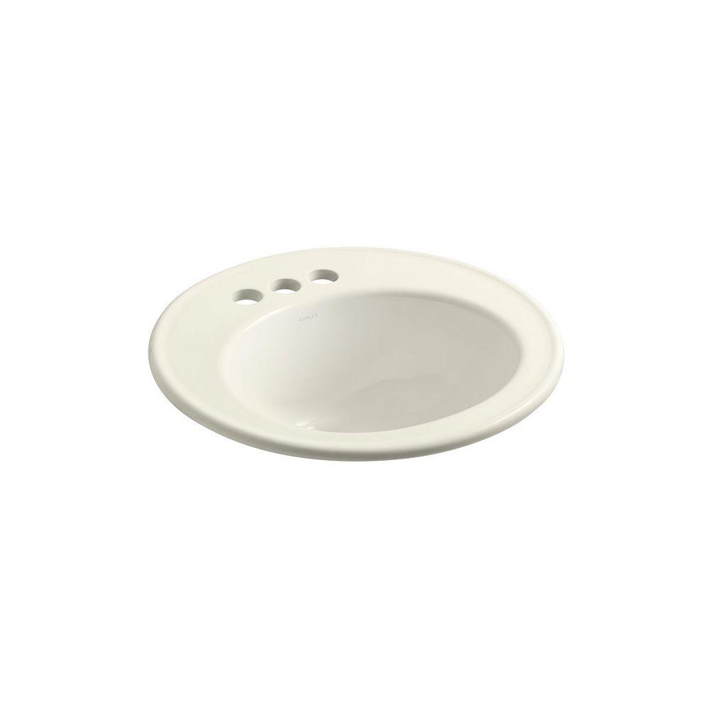 KOHLER Brookline(R) 19 inch diameter drop-in bathroom sink with 4 inch centerset faucet holes