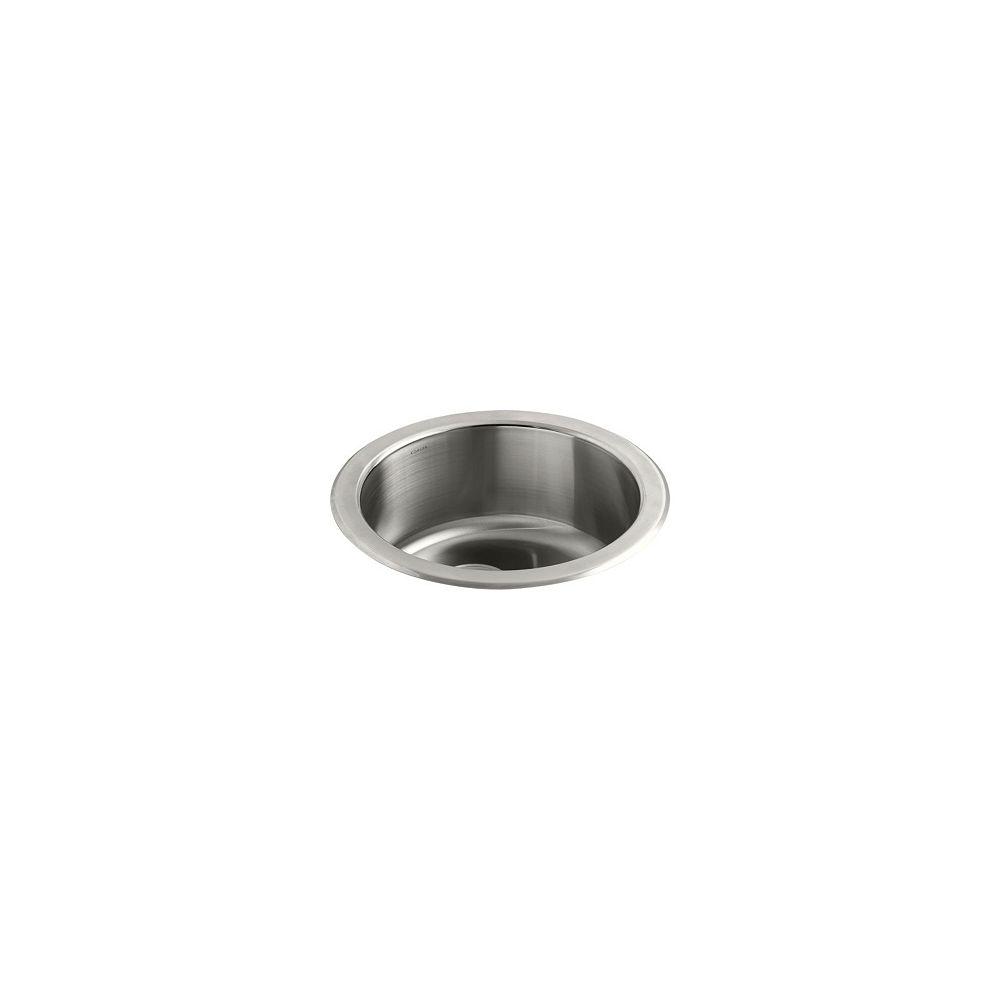 KOHLER Evier de cuisine simple rond Undertone/Lyric, installation en surface ou en sous-surface, 18 3/8 po de diametre x 7 5/8 po