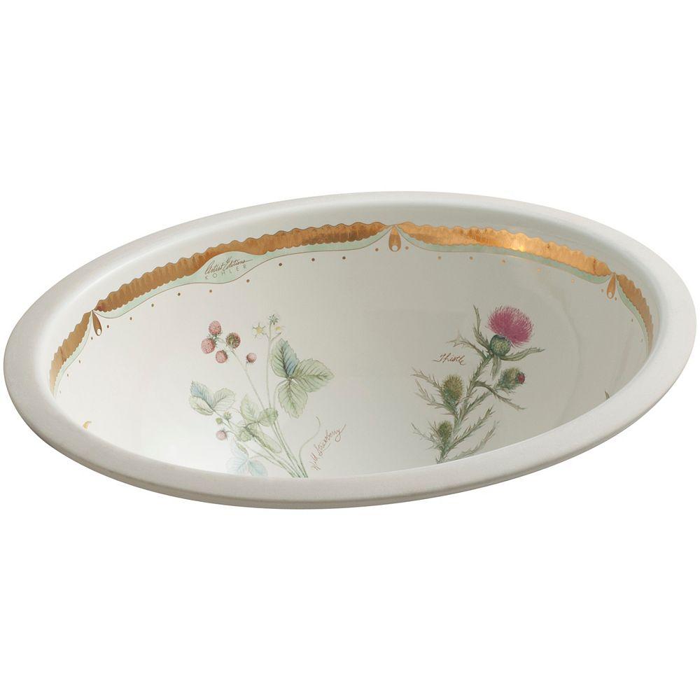 KOHLER Lavabo de salle de bain en sous-surface Caxton, motif Prairie Flowers