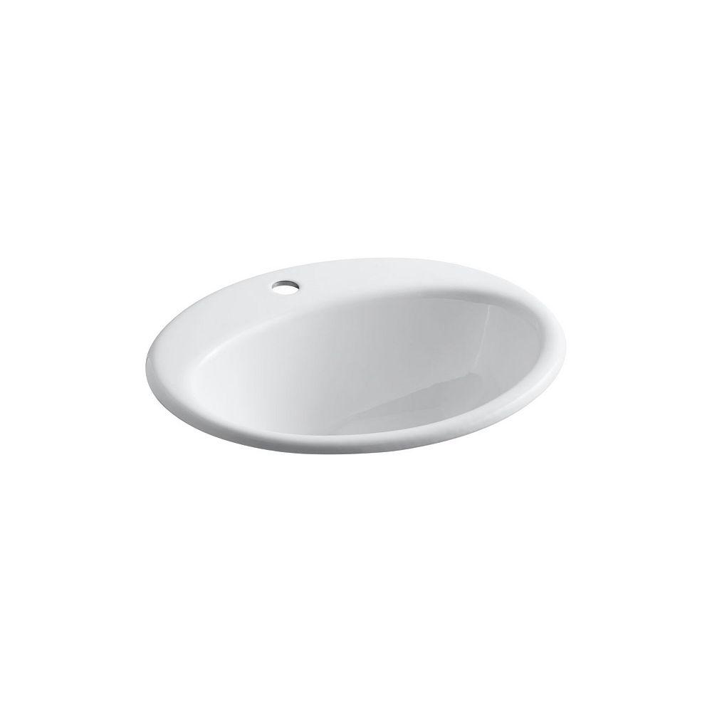 KOHLER Lavabo de salle de bain encastre Farmington avec trou unique de robinet