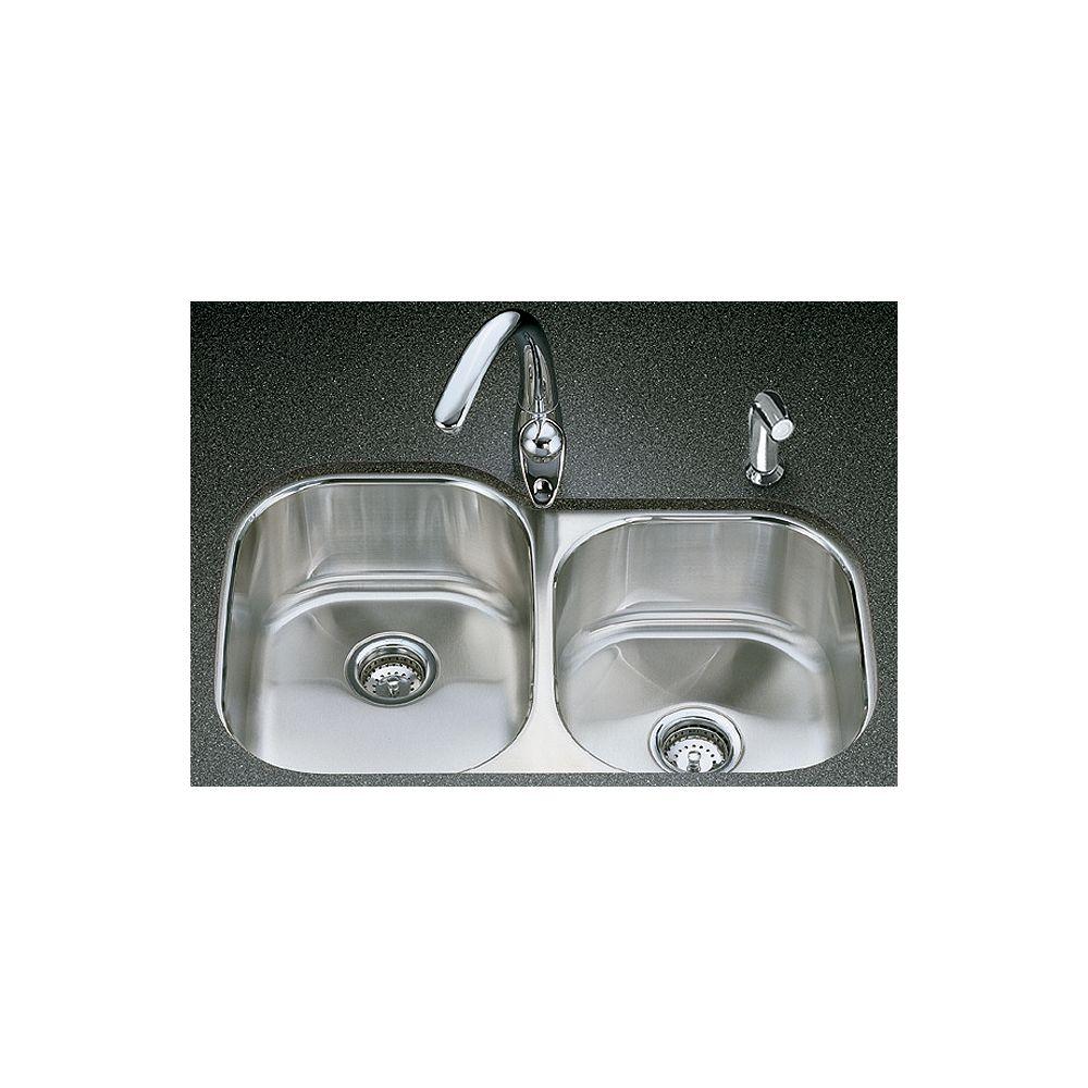 KOHLER Évier de cuisine sous comptoir large/moyen Undertone(R) avec style de bassin arrondi