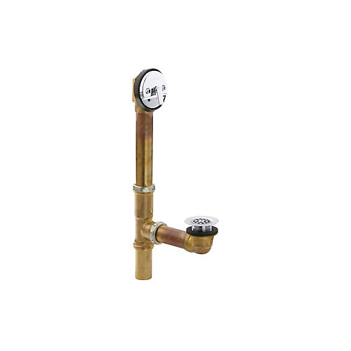 Swiftflo(Tm) Adjustable Trip Lever Drain, 20-Gauge Brass, For 18-1/2 Inch To 20-1/2 Inch Baths in Polished Chrome