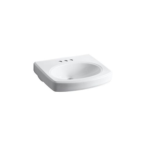 Pinoir(R) bathroom sink basin with 4 inch centerset faucet holes