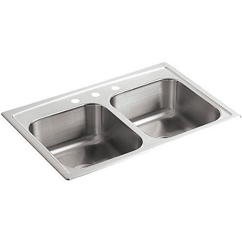 Evier de cuisine a double cuve egale Toccata, installation sur surface, 33 x 22 x 8 3/16 po, avec 3 trous de robinet
