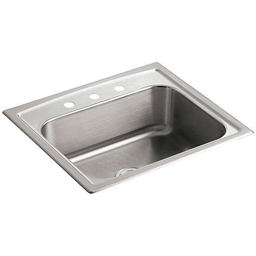 Evier de cuisine simple Toccata a installation sur surface, 25 x 22 x 7 11/16 po, avec 3 trous de robinet
