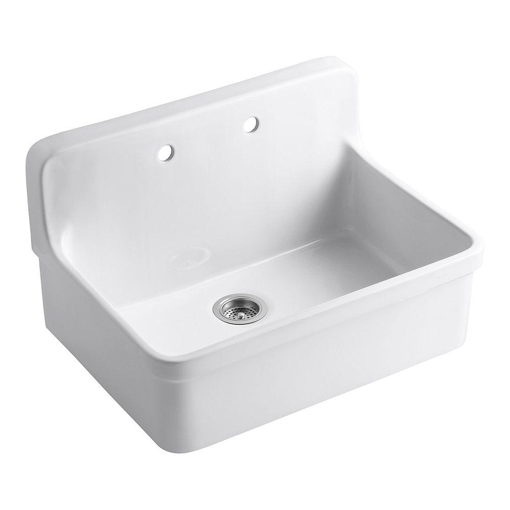 KOHLER Gilford(Tm) Apron-Front Wall-Mount Kitchen Sink in White