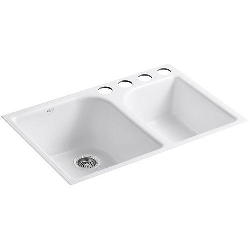 KOHLER Executive Chef(Tm) Undercounter Kitchen Sink in White
