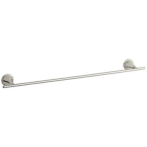 Finial Traditional 24 Inch Towel Bar in Vibrant Polished Nickel