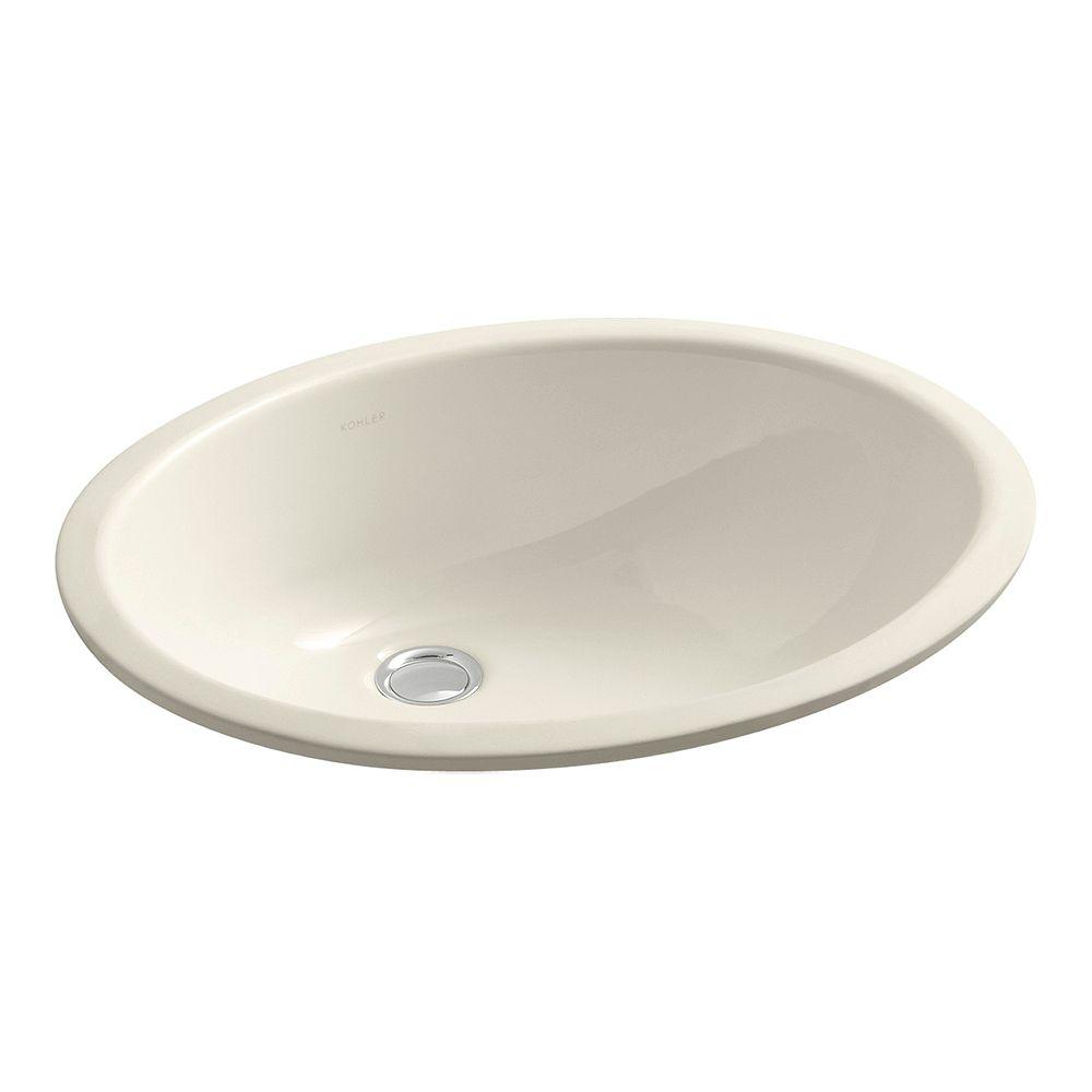 KOHLER Lavabo de salle de bain en sous-surface Caxton ovale, 17 x 14 po, avec surface inferieure emaillee et bloc d'attache