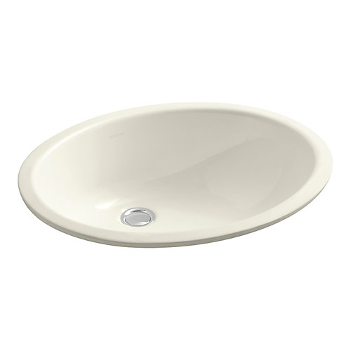 Caxton(R) Oval 17 inch x 14 inch under-mount bathroom sink with glazed underside and clamp assembly