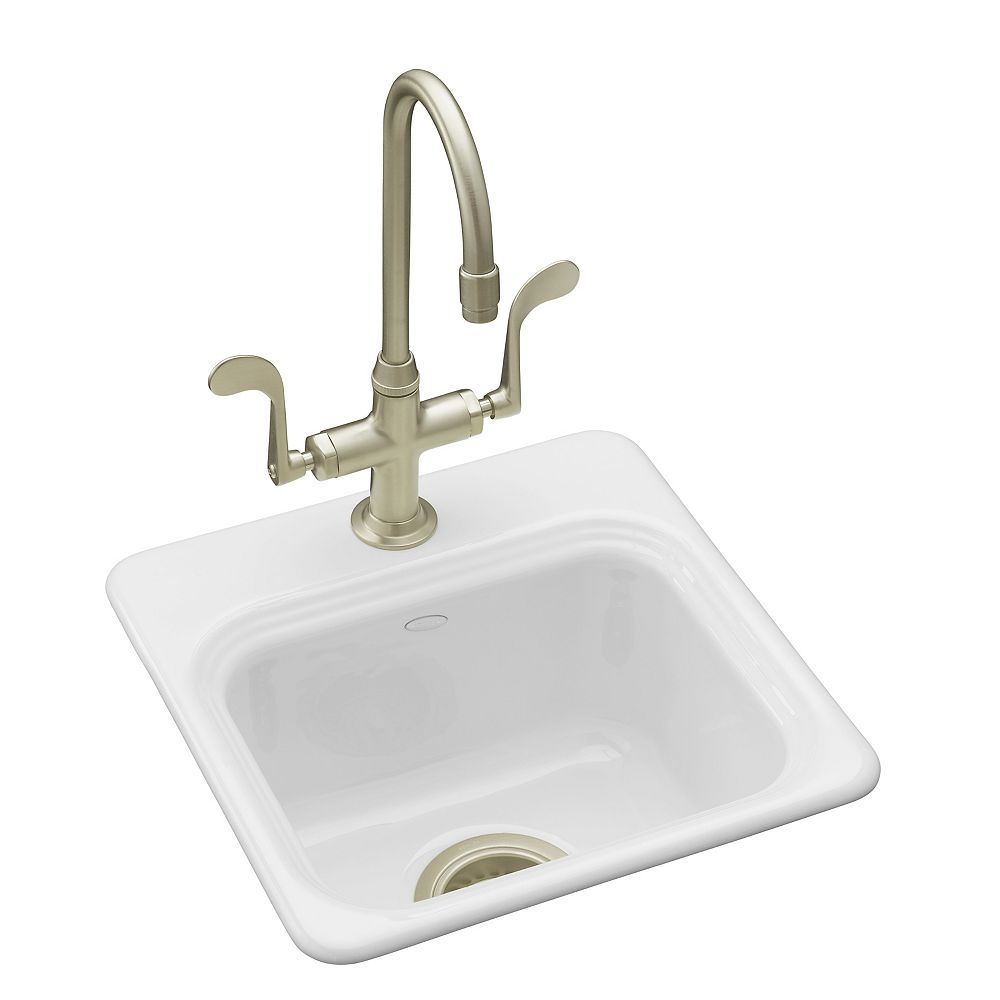"KOHLER Northland(TM) 15"" x 15"" x 7-5/8"" top-mount bar sink with single faucet hole"