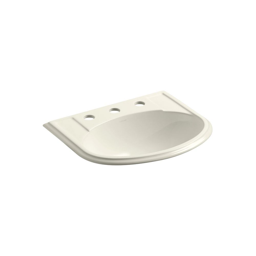 KOHLER Devonshire(R) drop-in bathroom sink with 8 inch widespread faucet holes