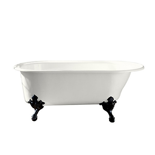 "Iron Works(R) Historic 66"" x 36"" freestanding oval bath with reversible drain, White exterior"