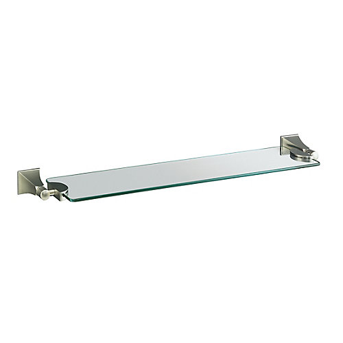 Memoirs Glass Shelf With Stately Design in Vibrant Brushed Nickel