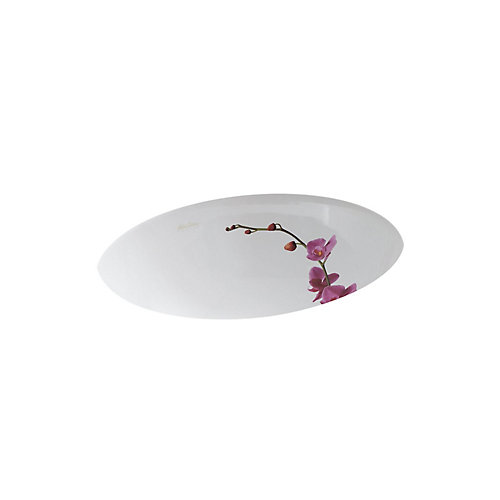 Caxton Undercounter Bathroom Sink in White with Soliloquy Design