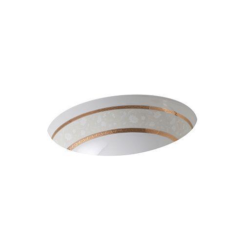 KOHLER Flight of Fancy(TM) with gold accents on Caxton(R) under-mount bathroom sink