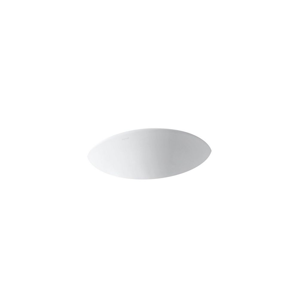 KOHLER Lavabo de salle de bain en sous-surface Caxton ovale, 17 x 14 po, avec drain central et bloc d'attache