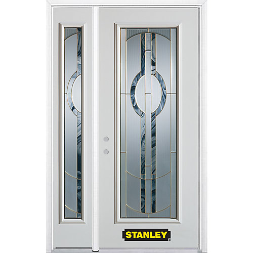 52.75 inch x 82.375 inch Stephany Brass Full Lite Prefinished White Right-Hand Inswing Steel Prehung Front Door with Sidelite and Brickmould