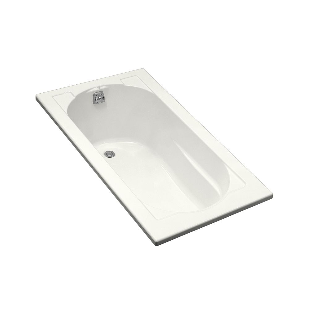 KOHLER Devonshire 60-inch x 32-inch Acrylic Drop-In Bathtub with Reversible Drain in White