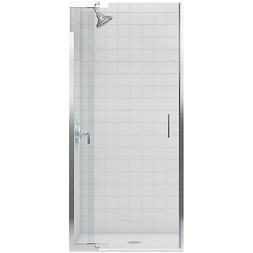 Purist Frameless Pivot Shower Door in Bright Silver