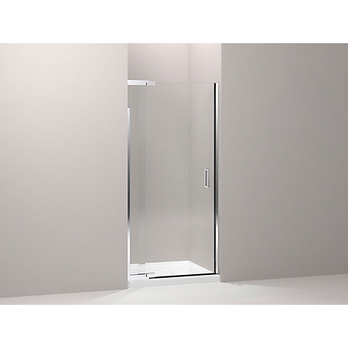 Purist Frameless Pivot Shower Door in Bright Silver