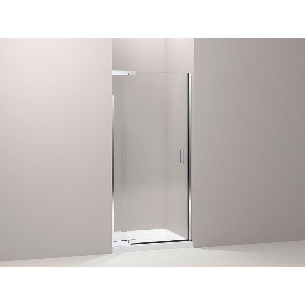 KOHLER Purist Frameless Pivot Shower Door in Bright Silver