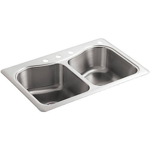Evier de cuisine a double cuve egale Staccato, installation sur surface, 33 x 22 x 8 5/16 po, avec 4 trous de robinet