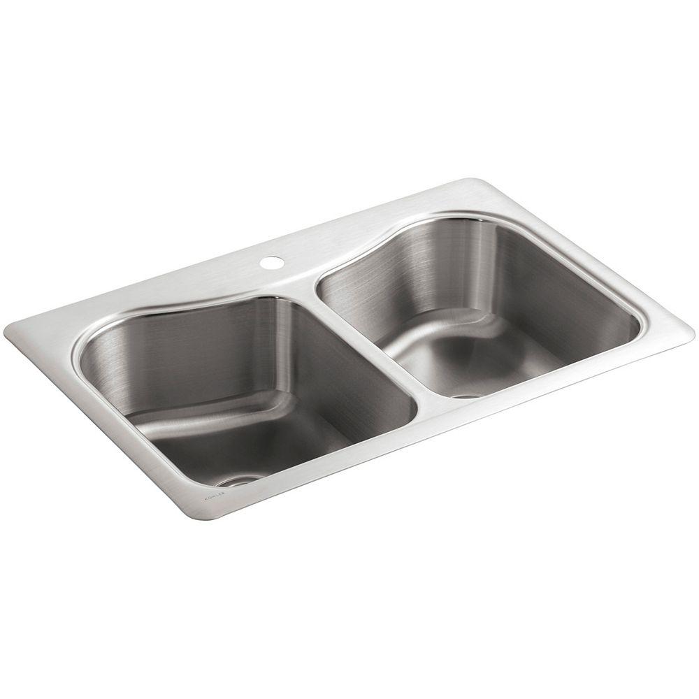 KOHLER Staccato(Tm) Double-Basin Self-Rimming Kitchen Sink