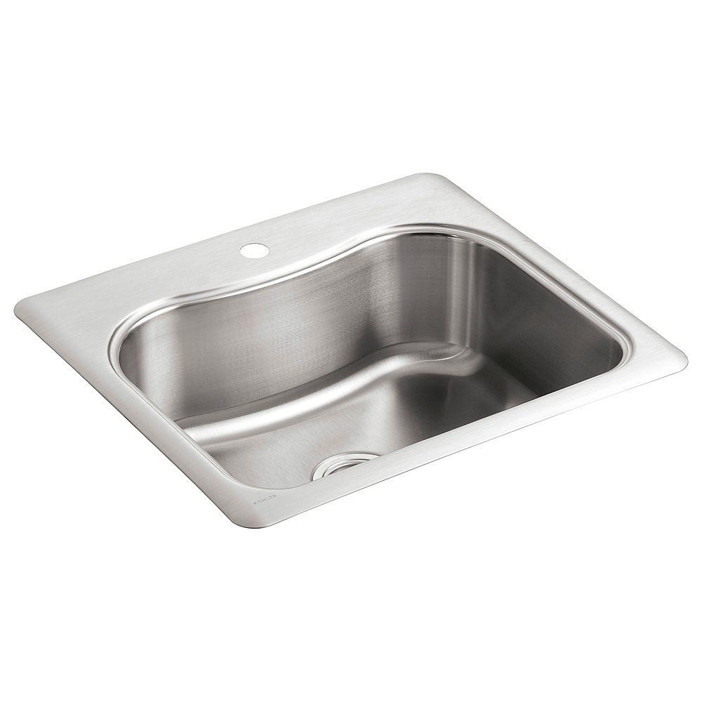 KOHLER Evier de cuisine simple Staccato, installation sur surface, 25 x 22 x 8 5/16 po, avec trou unique de robinet