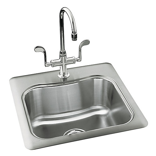 """Staccato(TM) 20"""" x 20"""" x 8-5/16"""" top-mount single-bowl bar sink with single faucet hole"""