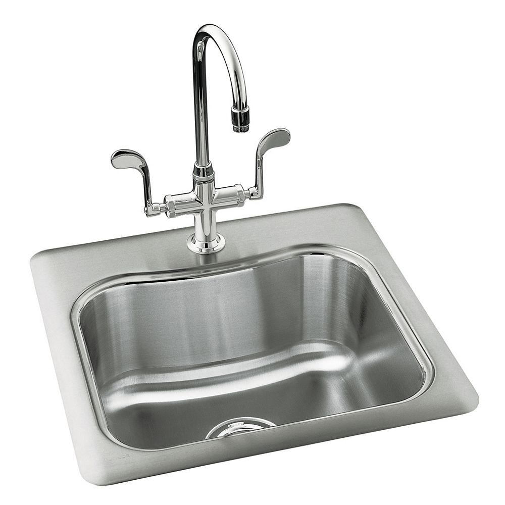 """KOHLER Staccato(TM) 20"""" x 20"""" x 8-5/16"""" top-mount single-bowl bar sink with single faucet hole"""