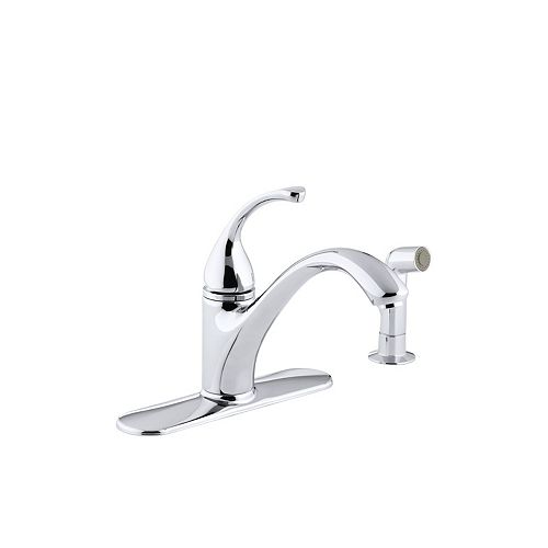 Forté Single-Control Kitchen Sink Faucet With Escutcheon, Sidespray And Lever Handle in Polished Chrome